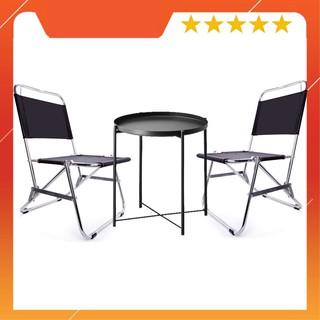 """WOW Bộ 1 bàn tròn 2 ghế xếp gọn đa năng, bộ bàn trà chanh, cafe quán góc, du lịch tiện dụng – màu đen """"VUA GIA RE"""""""
