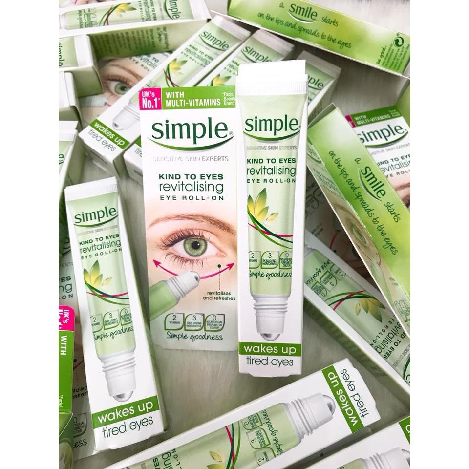 Lăn dưỡng mắt Simple Kind To Eyes Revitalising Eye Roll-On 15ml - 3316622 , 400276420 , 322_400276420 , 270000 , Lan-duong-mat-Simple-Kind-To-Eyes-Revitalising-Eye-Roll-On-15ml-322_400276420 , shopee.vn , Lăn dưỡng mắt Simple Kind To Eyes Revitalising Eye Roll-On 15ml