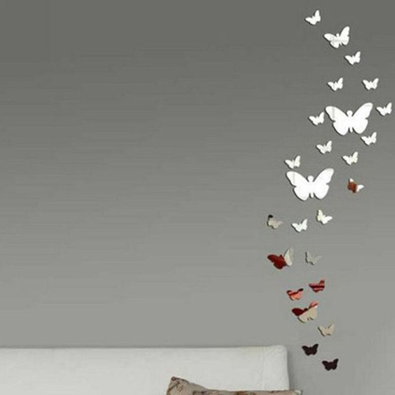 12X Butterflies Mirror Wall Sticker For Living Room Bedroom Decal Art Home Decor