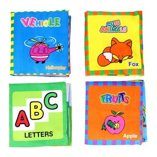 Soft Cloth Book Alphabet Animal Fruit New Born Educational Early Learning Baby Kids Book Children's Gift