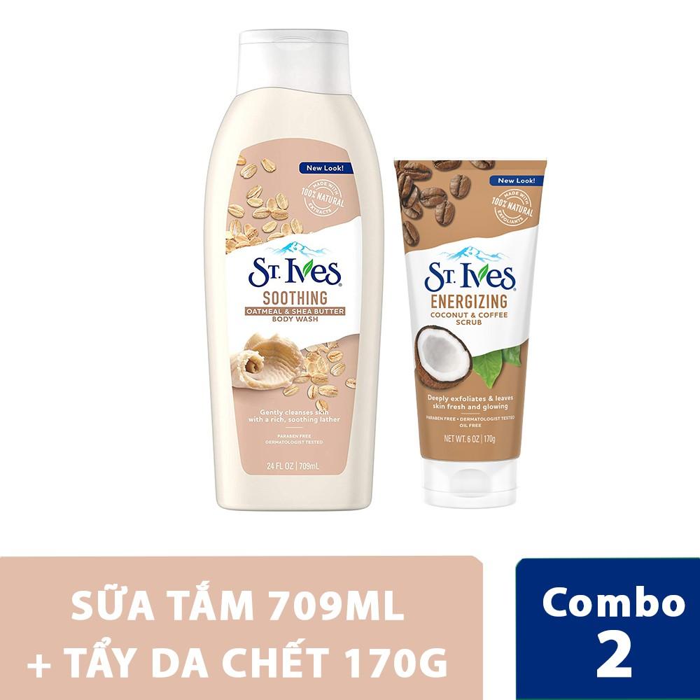 Hình ảnh Combo sữa tắm St.Ives Yến Mạch Và Bơ Shea 709ml + tẩy da chết St.Ives dừa và cà phê 170g-0