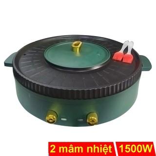 Nồi lẩu nướng 2 mâm nhiệt Nineshield KB-518L có 2 nút chỉnh nhiệt độc lập