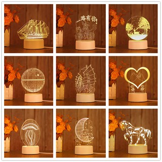 Đèn ngủ Mica led 3D nhiều mẫu đẹp làm quà tặng hoặc trang tri nhà cửa – Venado