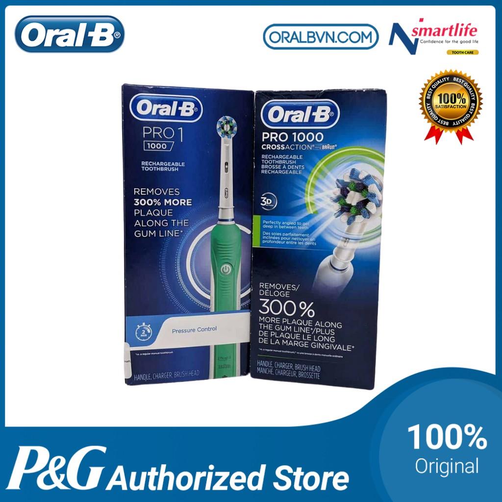 Bàn chải đánh răng điện tự động Oral B Pro 1000 màu hồng làm sạch răng, hạn chế viêm nướu