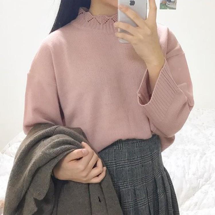 Áo Sweater Dệt Kim Tay Dài Dáng Rộng Cổ Cánh Hoa Kiểu Hàn Quốc Thời Trang Mùa Thu Cho Nữ