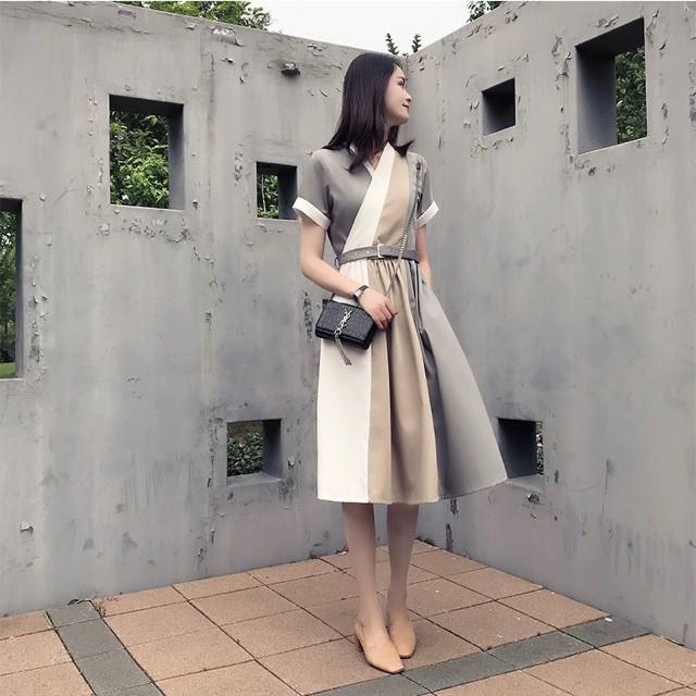 {order 5-7 ngày} Bigsize Váy cổ V chéo kèm belt phối màu thanh lịch đơn giản