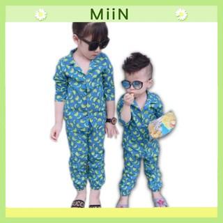 Bộ quần áo dài tay thu đông vải thô QATE134 cho bé trai và bé gái