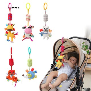 ♕Cartoon Bear Cow Deer Fox Mouse Rattle Toy Wind Bell Baby Crib Hanging Doll