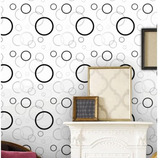 combo 5m giấy dán tường vòng tròn trắng đen - khổ rộng 60 cm