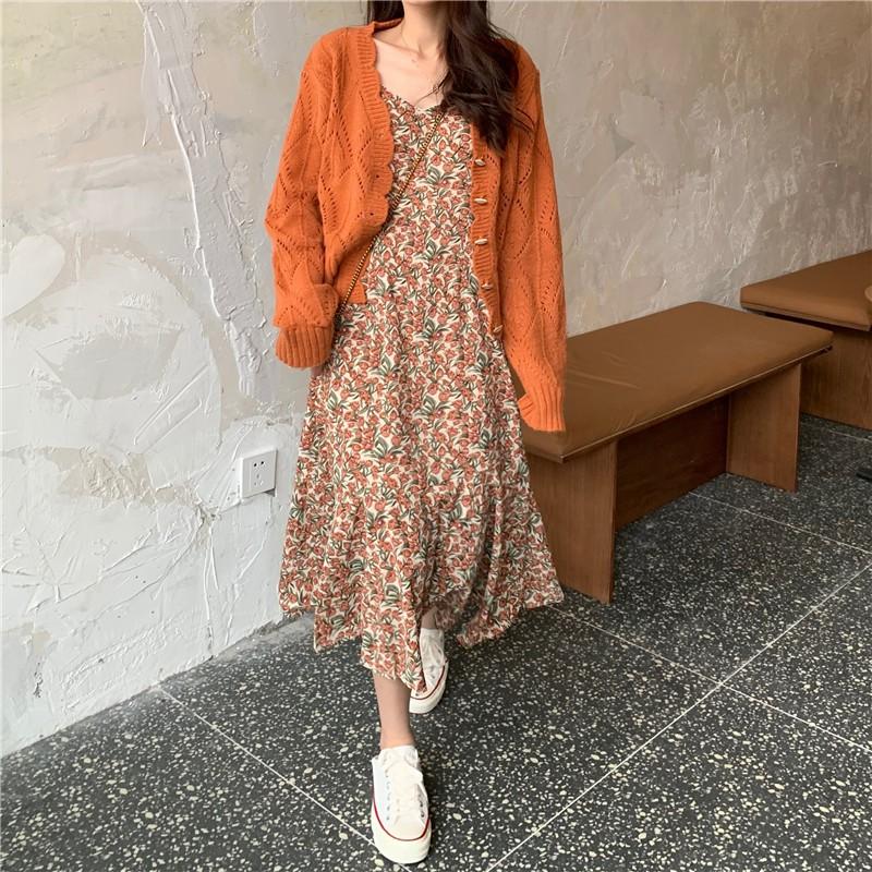 Set Trang Phục ULZZANG Váy Liền Hoa Nhí 2 Dây + Áo Khoác Cardigan Cho Bạn  Nữ   Shopee Việt Nam
