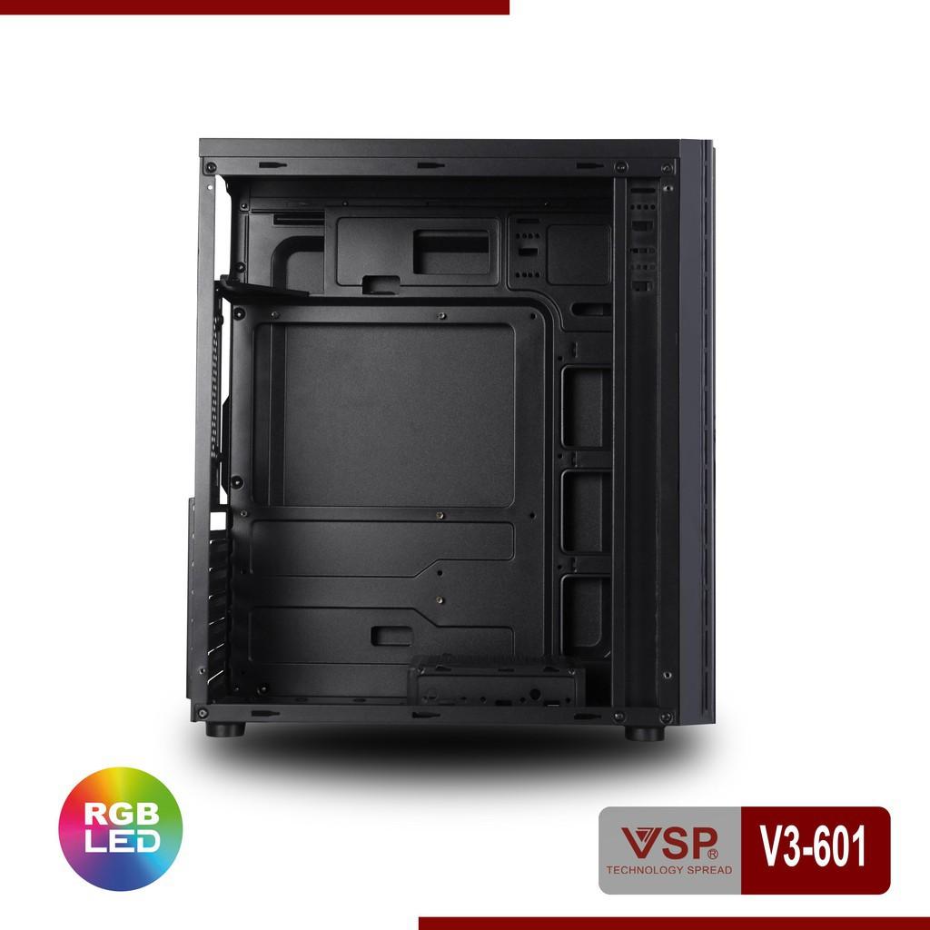 Vỏ Case Máy Tính VSP V3-601 Led RGB Mica trong suốt có USB 3.0, chất liệu cao cấp, thiết kế hiện đại