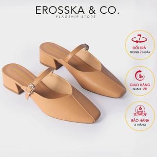 Dép cao gót Erosska mũi vuông phối dây quai mảnh cao 4cm màu bò - EL017