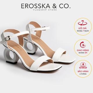 Giày sandal cao gót Erosska hở mũi phối dây cao 7cm màu trắng _ EB009