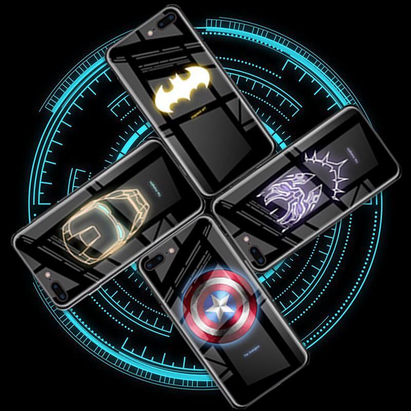 Ốp điện thoại cường lực in hình siêu anh hùng dạ quang cho iPhone 6/6s 6plus/6splus 7/8 7plus/8plus X XS XR XsMax