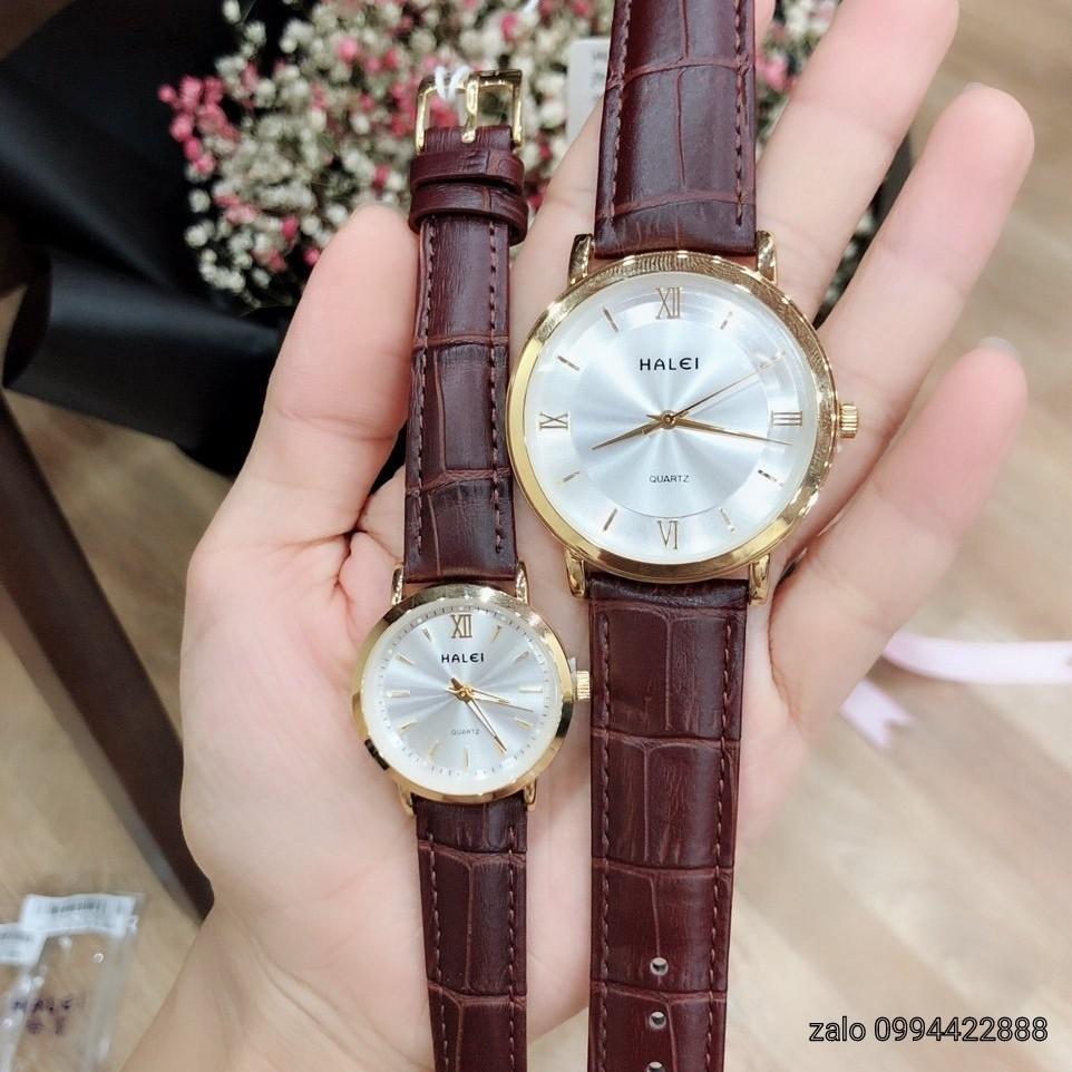 [Flash sale]Đồng hồ nam nữ Halei mặt tròn chính hãng chống nước+tặng hộp xinh + pin dự phòng & vòng tay tì hưu