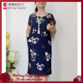 Đầm suông trung niên cao cấp Vải Thun Cát Nhật – Đủ size từ 48kg đến 90kg