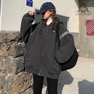 Yêu Thích[CÓ SẴN] Áo khoác lót nỉ bông da cá bóng chày nữ form rộng dày dặn dài tay có mũ dây kéo rút ulzzang Hàn Quốc