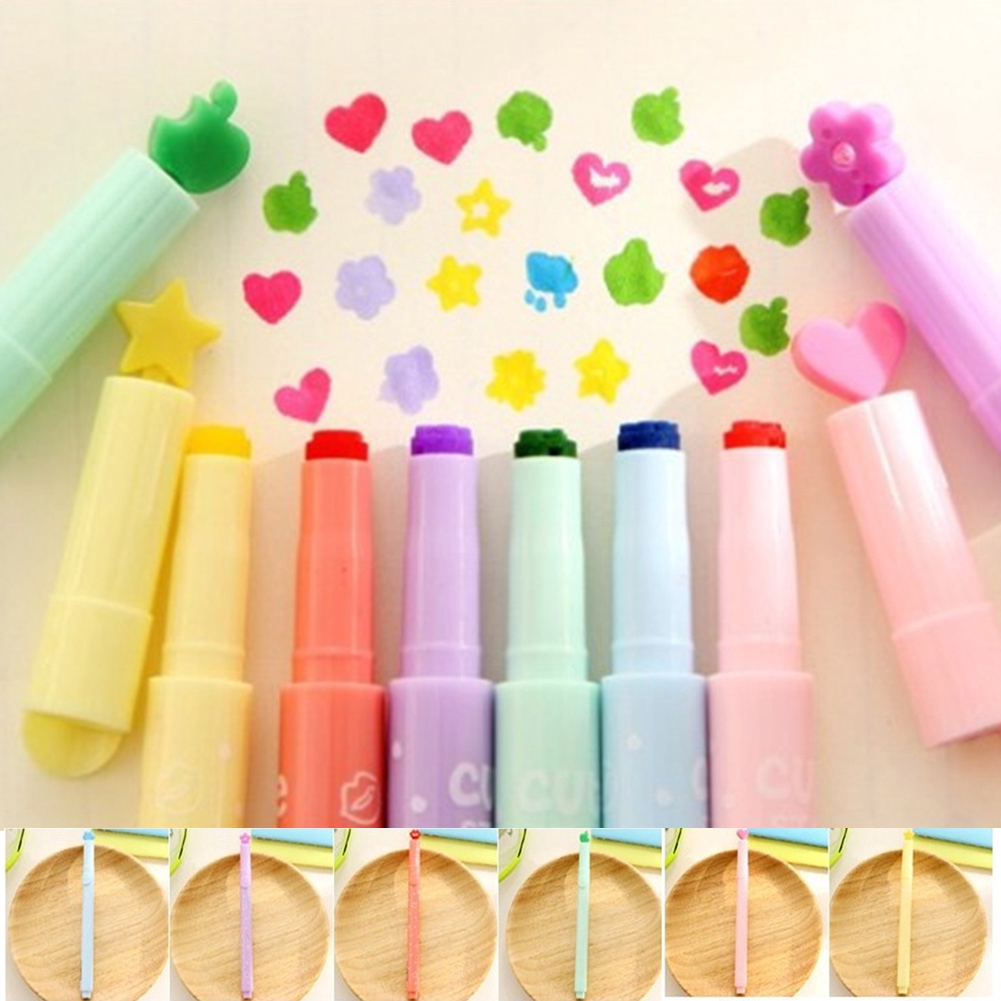 Stamper Markers Multi Colours Stamp Pen Cloud  Lip Star Flower Heart