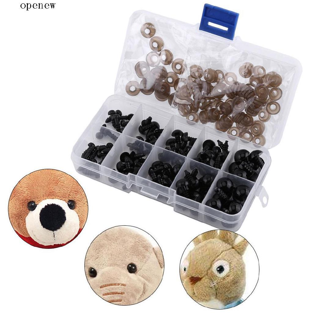 op 1 Box Diy Toy Accessory Black Screw Eyes With Gasket
