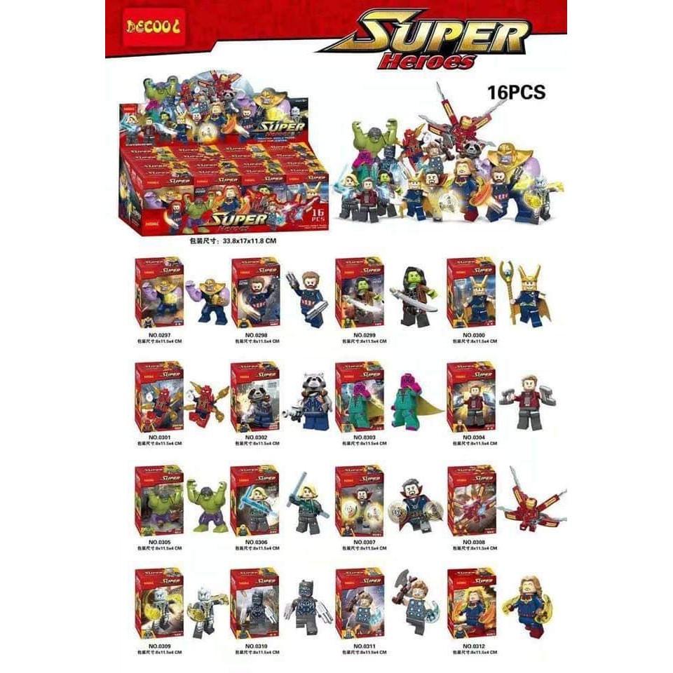 Lego Minifigures Marvel Combo 16 nhân vật Infinity War - Cuộc Chiến Vô Cực Decool - 21700152 , 2310593339 , 322_2310593339 , 320000 , Lego-Minifigures-Marvel-Combo-16-nhan-vat-Infinity-War-Cuoc-Chien-Vo-Cuc-Decool-322_2310593339 , shopee.vn , Lego Minifigures Marvel Combo 16 nhân vật Infinity War - Cuộc Chiến Vô Cực Decool