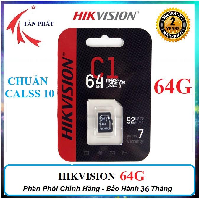 Thẻ Nhớ 64G 128G 32G HIKVISION CLASS 10 Chất Lượng Cao Kèm Adapter - Chính Hãng - BẢO HÀNH 24 THÁNG