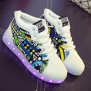 Giày phát sáng cao cổ họa tiết phát sáng 7 màu 11 chế độ