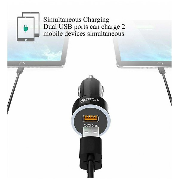 Tẩu sạc xe hơi oto VIP Qualcomm QC 3.0 (sạc nhanh tiết kiệm thời gian) Công nghệ mới nhất