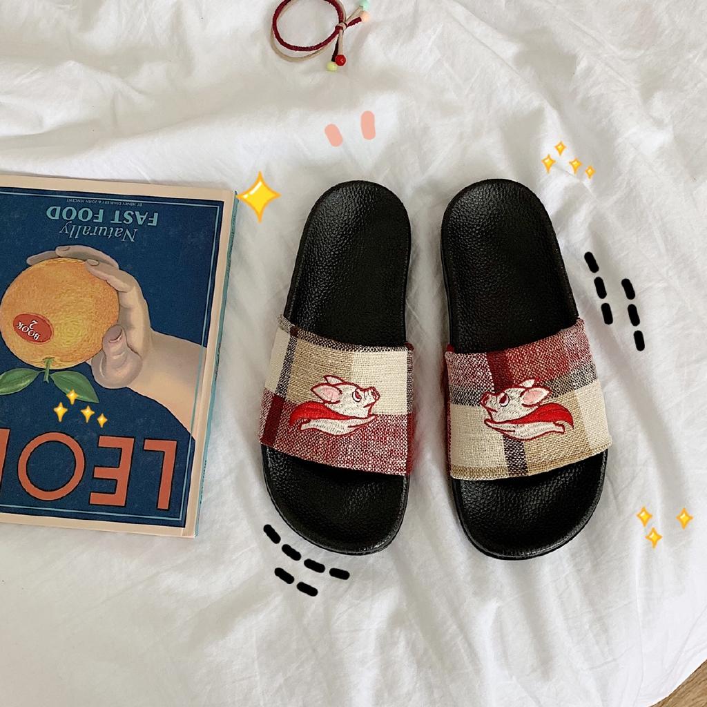 women sandalHome indoor ins wind original cloth plaid slippers women a word beach cartoon flying pig flat bottom cool d