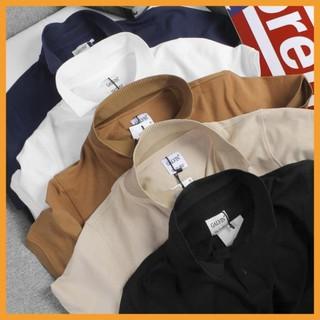[HÀNG HOT] Áo phông nam, áo thun nam cổ trắng đen tay ngắn lỡ cổ bẻ