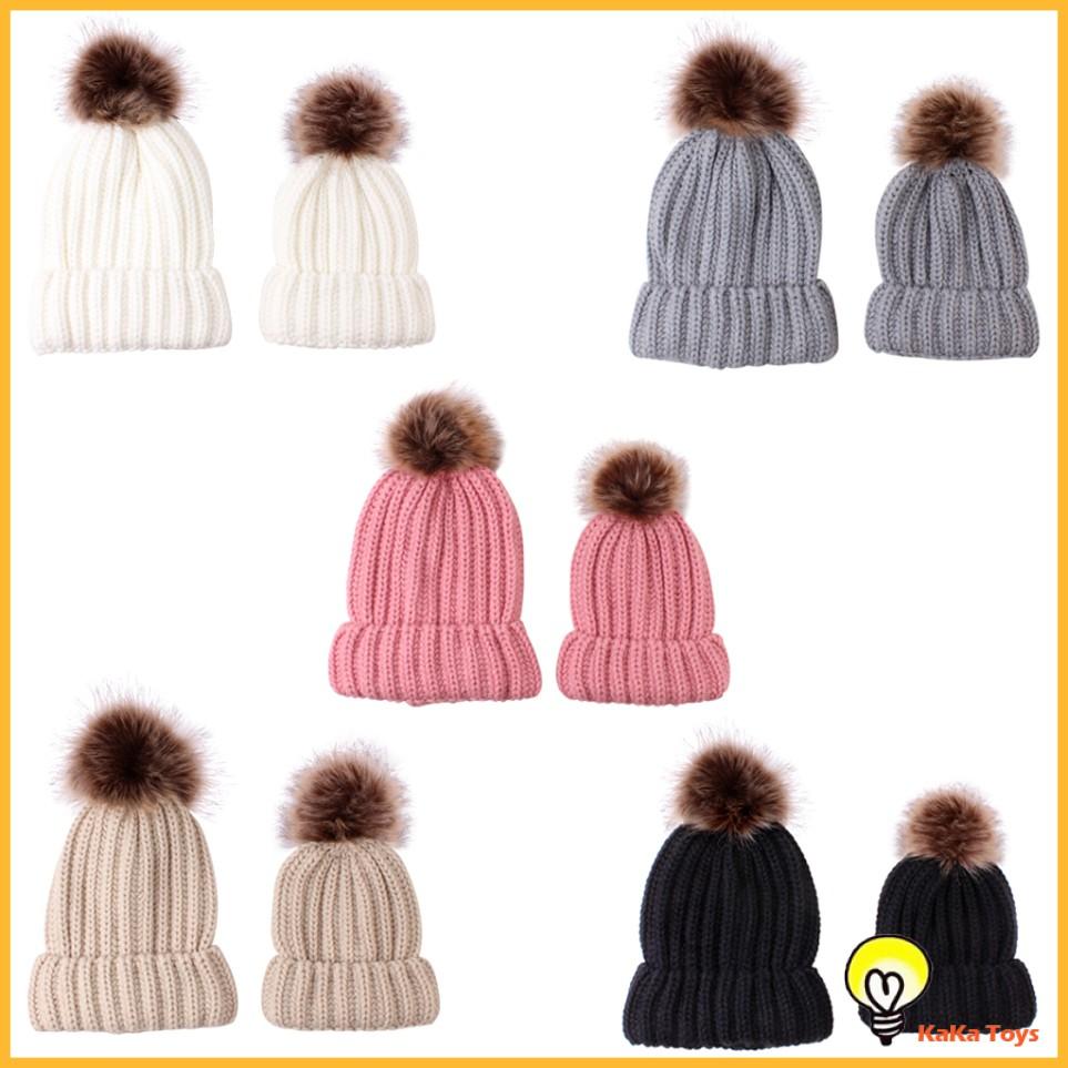 Parent Child Warmer Hat Mother Daughter Son Winter Warm Knit Hat