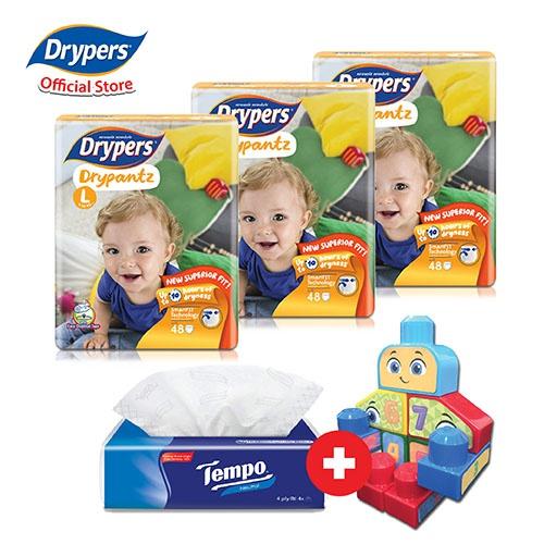 [Tặng bộ lắp ráp Fisher Price + Khăn giấy Tempo] Bộ 3 tã quần Drypers Drypantz L(3x48s)