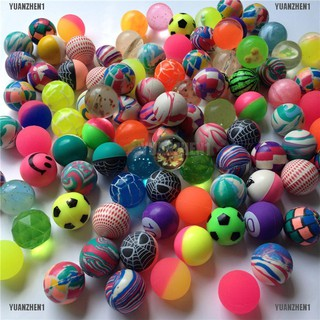 {YUANZHEN1}10 Pcs Mixed 30mm Bounce Balls Multi-Colored Elastic Juggling Jumping