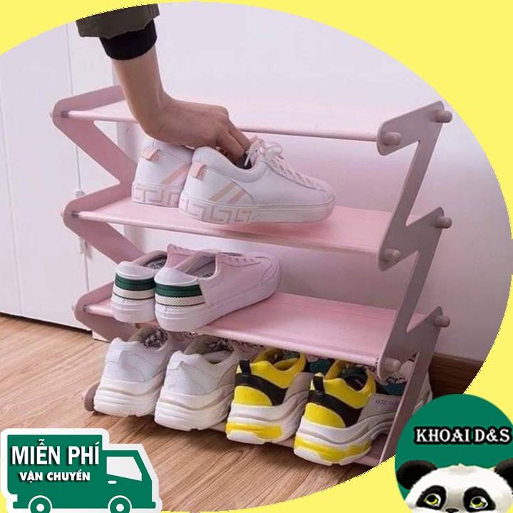 Kệ giày dép chữ Z 4 tầng đa năng l Kệ đựng giày dép, sách vở thanh inox, giá vải, dễ dàng lắp ghép, cao 50cm