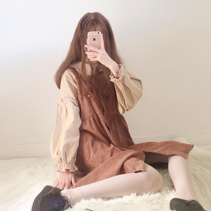 Set váy ulzzang thêu gấu Brown