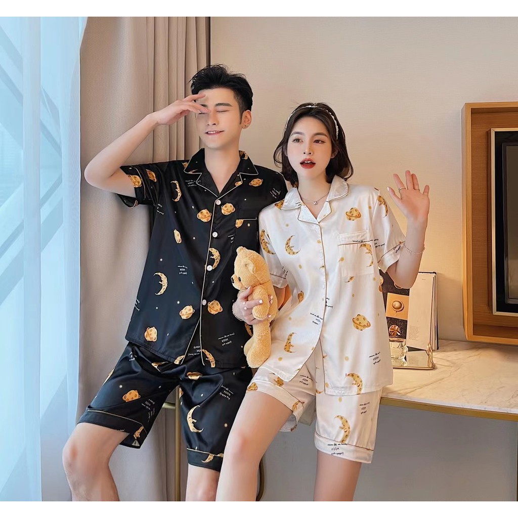 Mặc gì đẹp: Yêu thương với Đồ Ngủ Pijama Thời Trang Cao Cấp Cho Các Cặp Đôi đồ ngủ đôi Các cặp đôi pyjamas pijama nam nữ mùa hè đồ đôi pijama ngắn