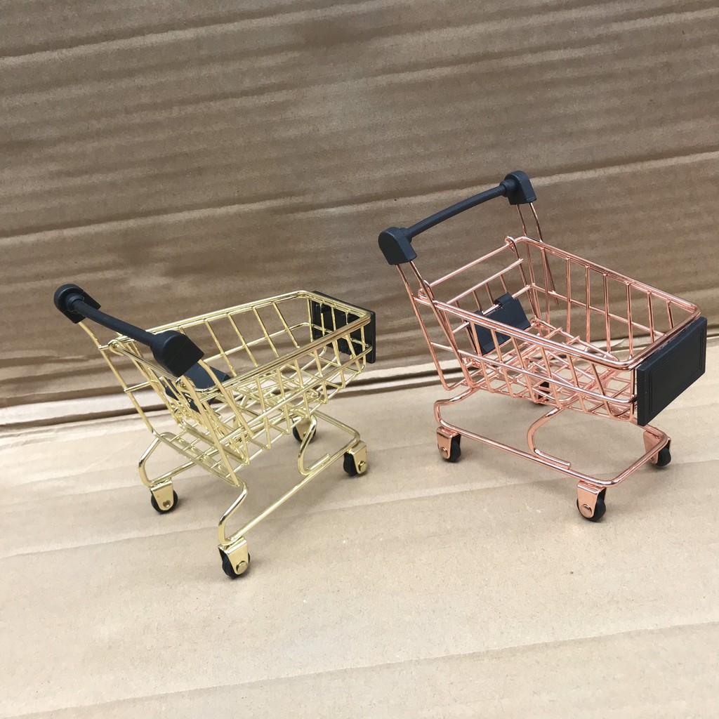 Xe Đẩy Siêu Thị Mini - Giỏ Đựng Đồ Mua Sắm Mini Bằng Thép Không Gỉ