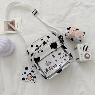 Túi đeo chéo vải đựng đồ canvas in hình bò sữa