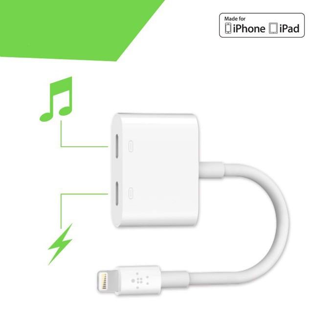 Jack Chuyển Đổi + Giắc Chia Cổng Vừa Sạc Vừa Sử Dụng Tai Nghe - IC Zin Apple Hỗ Trợ Mic Cho iPhone 7/8/X/11