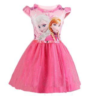 Đầm công chúa phối ren đính kim sa lấp lánh cho bé gái