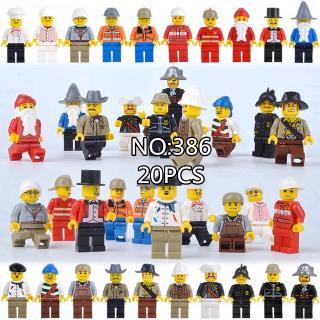 Set 20 đồ chơi búp bê dạng LEGO lắp ghép hình đầu bếp/cướp biển/công nhân