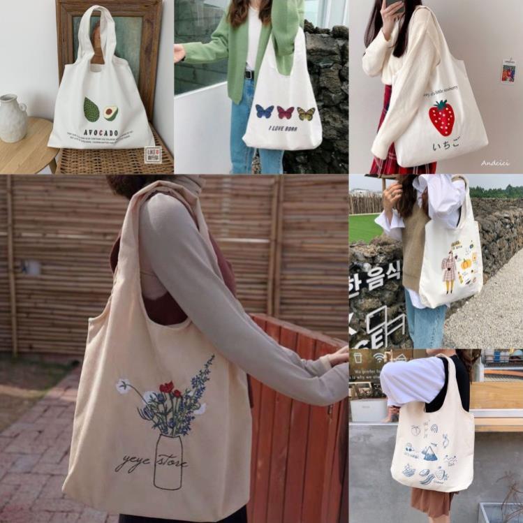 [NHIỀU MẪU MỚI]Túi tote vải canvas đựng đồ đi chơi đi học đi làm phong cách thời trang Hàn Quốc