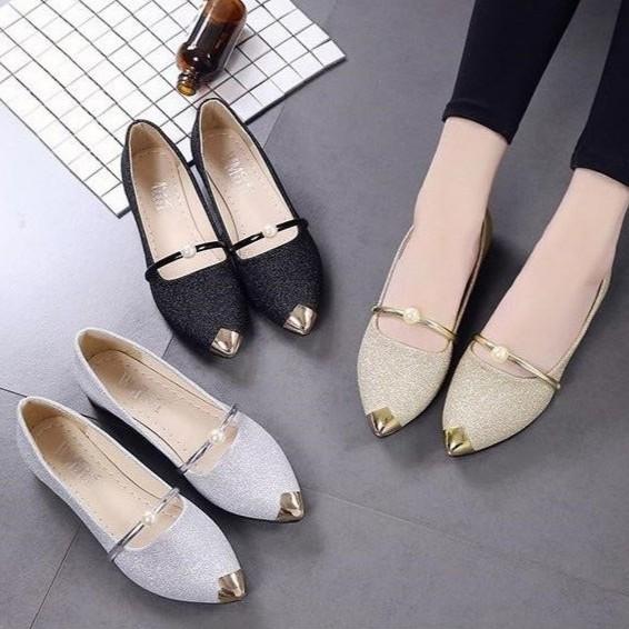 Giày búp bê hạt ngọc ánh nhũ dễ thương