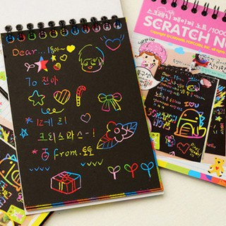 12 Sheet Drawing Paper Colorful Painting Doodle Notebook Scratch Random Color