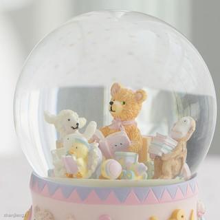 Hộp Nhạc Hình Bông Tuyết, Thỏ Và Gấu Màu Hồng