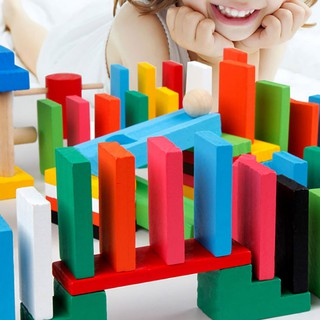 120Pcs/Set Colorful Dominoes Wooden Blocks Children Early Educational Play Toy