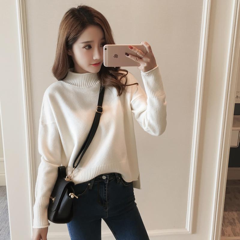 Áo len sweater dáng rộng cổ lọ xinh xắn cho phái nữ