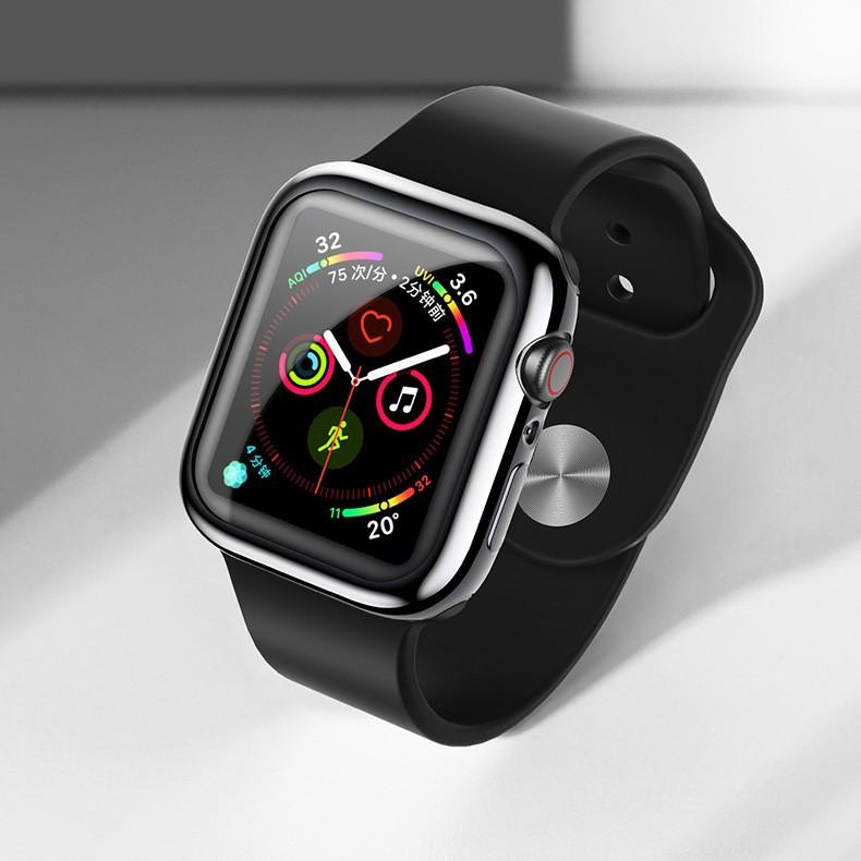 Ốp case TPU mạ Chrome & kính cường lực dẻo  Usams cho Apple Watch Series 6 / Apple Watch Series 5/ SE/ 4 Size 40/44mm