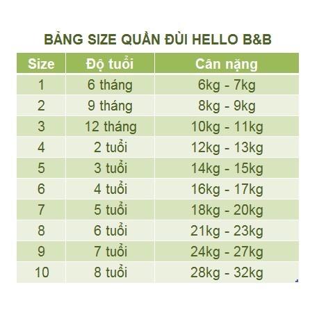 [Nhiều màu] QL0196 Quần đùi cotton Hello BB d Hello B&B 3