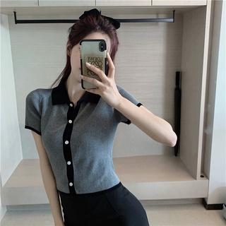 Chic Lantern sleeves Korean version Outerwear Women's clothes Knitted tops Korean Girls' clothing