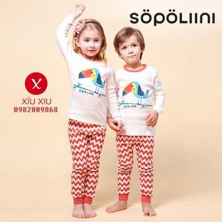 Bộ cotton dài xuất Hàn hình chú vẹt Toucan hiệu Sopoliini